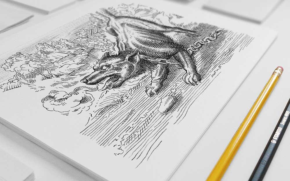 Zeichnung Rufelihund  ACHTUNG! GmbH Bern