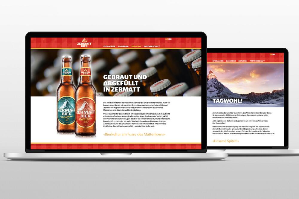 Zermatt Bier Webseite  ACHTUNG! GmbH Bern